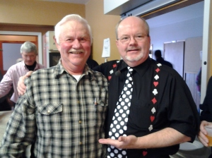 Dashwood Men's Club member Don Weigand poses with performer Peter Mennie.