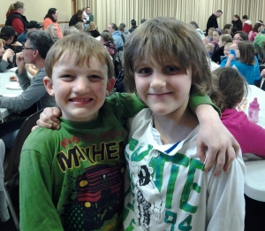 Friends, Bradley Vander Burgt and Brodie Gelinas are excited for the show to begin.