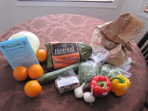 Fresh food items in this month's Good Food Box
