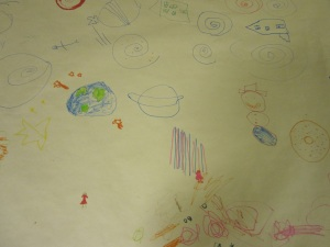 """Pictionary """"art"""" at the South Huron Day Camp."""