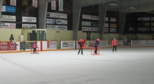 Enjoying the free public skate at the South Huron Recreation Centre.