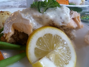 Stuffed Salmon with White Sauce, Broasted Potatoes, Green beans and carrots.  Yummy!