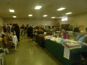 craft vendors filled two room adjacent to the ice surface in the community centre.