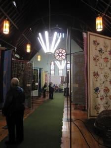 People enjoying the Quilt Exhibit at the Trivitt Memorial Anglican Church in Exeter.