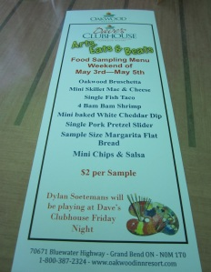 Oakwood's Sampling Menu
