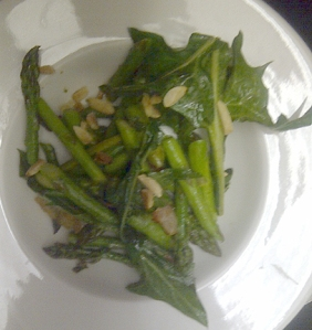 Wilted Dandelion with Asparagus, Slivered Almonds & Bacon with a Sherry Vinaigrette