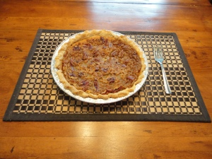 Yum, yum, this homemade pecan pie was a hit at our home.