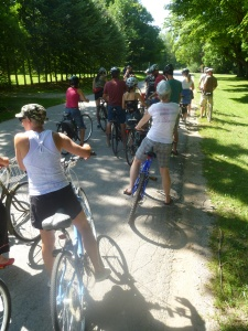 35-40 bikers joined the group as they toured the Village of Bayfield