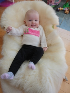 Nicole's mini-Diva snug as a bug in a sheepskin!