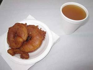 Hot apple cider and fresh apple fritters...mmmm!