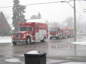 Fire trucks start the parade
