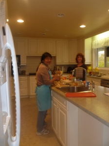 Hermie and Anita are in the kitchen preparing breakfast.  Lunches and dinners are sometimes part of the package for hobby or spa retreat guests too.