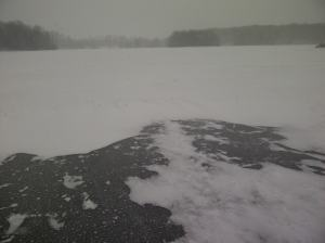 Winter came early and  Lake Wawanosh is frozen over.