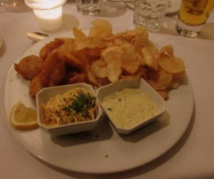 Lake Huron fish and chips and mushroom risotto
