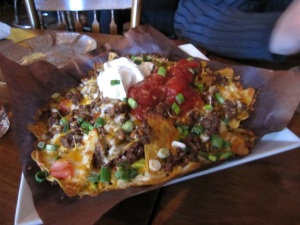 "My hockey watching menu: ""Nachos Supreme"" with ground beef"