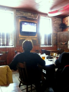 Watching the Olympic hockey game at the Albion