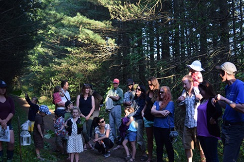 """the crowd pauses to enjoy entertainment along the trail during """"Follow the Light"""""""