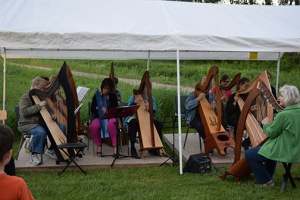 twelve or so harpists from the Huron Strings Harp School delighted the participants …