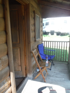 The little porch on our cabin