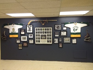 The Cents Memorabilia wall in the newly renovated Blue Line Club