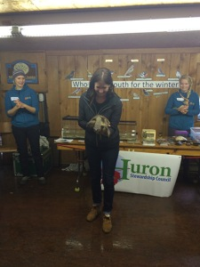 The Huron Stewardship Council were also on site to educate visitors about local reptile species, including snakes and turtles.  The council members were totally at ease handling the snakes and turtles, which helped the visitors to get over their fears and do the same.  Here I am learning how to properly handle a snapping turtle if I happen to find one on the road!