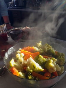 Steaming broccoflower and carrots from the Goderich Farmer's Market.