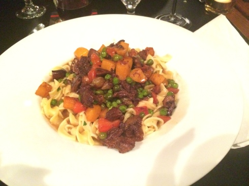 Braised Beef Cheeks with Winter Vegetables and Parslied Egg Noodles
