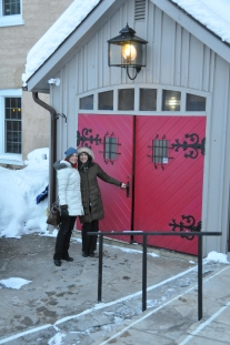 The red door entrance at Benmiller Inn and Spa