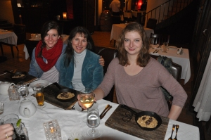Kate, Hellen and Erin enjoying the bean Cassoulet