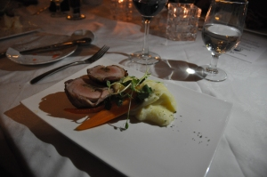 Bacon Wrapped Pork Tenderloin braised date stuffing, celeriac mashed potato, maple glazed carrot