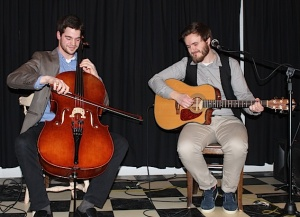Acoustic duo Thomas Beard and Caleb Smith perform at The Upper Deck in Brussels.