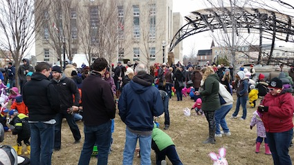 The Courthouse Park in downtown Goderich is swarming with children on the hunt for Easter eggs.