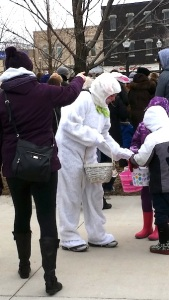 The Easter Bunny greets children of all ages.