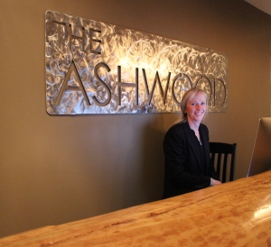The Ashwood owner Kirsten Harrett at the front counter.