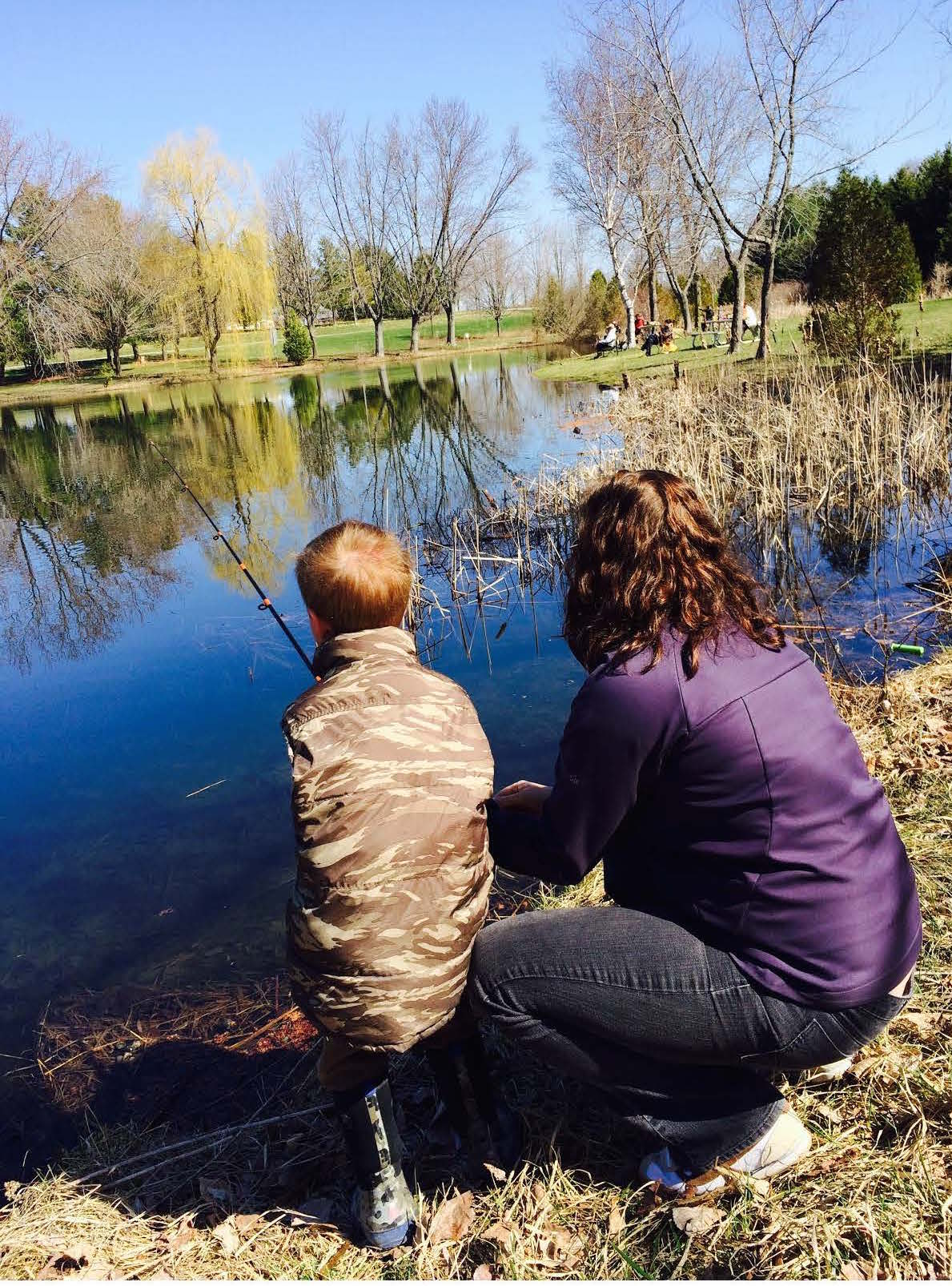Stocked pond provides hours of family fun ontario 39 s west for Stocked fishing ponds