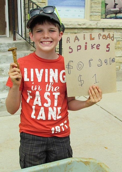Brodie Nesbitt, 10, sold railway spikes to raise money for a 4-wheeler.